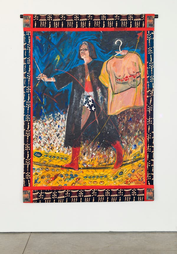 "Tightrope, Emma Amos, 1994, acrylic on linen with African fabric borders, 82"" x 58"""